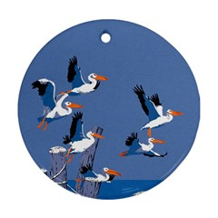 Abstract Pelicans Seascape Tropical Pop Art Ornament (round)  by WaltCurleeArt