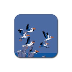 Abstract Pelicans Seascape Tropical Pop Art Rubber Square Coaster (4 Pack)  by WaltCurleeArt