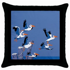 Abstract Pelicans Seascape Tropical Pop Art Throw Pillow Case (black) by WaltCurleeArt
