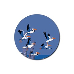 Abstract Pelicans Seascape Tropical Pop Art Rubber Coaster (round)  by WaltCurleeArt