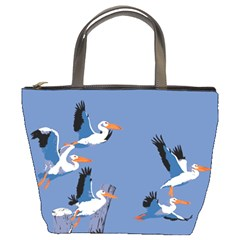 Abstract Pelicans Seascape Tropical Pop Art Bucket Bags by WaltCurleeArt