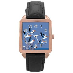 Abstract Pelicans Seascape Tropical Pop Art Rose Gold Leather Watch  by WaltCurleeArt