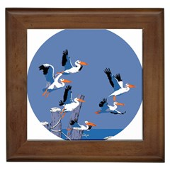Abstract Pelicans Seascape Tropical Pop Art Framed Tiles by WaltCurleeArt