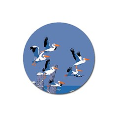 Abstract Pelicans Seascape Tropical Pop Art Magnet 3  (round) by WaltCurleeArt