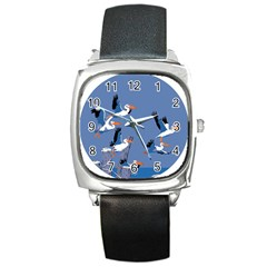 Abstract Pelicans Seascape Tropical Pop Art Square Metal Watch by WaltCurleeArt