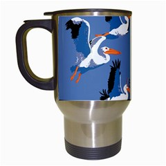 Abstract Pelicans Seascape Tropical Pop Art Travel Mugs (white) by WaltCurleeArt