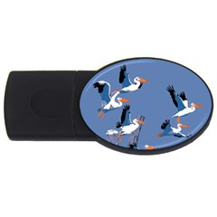 Abstract Pelicans Seascape Tropical Pop Art Usb Flash Drive Oval (4 Gb)  by WaltCurleeArt