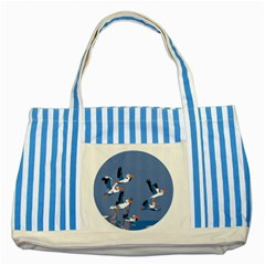 Abstract Pelicans Seascape Tropical Pop Art Striped Blue Tote Bag by WaltCurleeArt