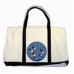 Abstract Pelicans Seascape Tropical Pop Art Two Tone Tote Bag by WaltCurleeArt