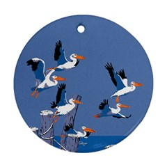 Abstract Pelicans Seascape Tropical Pop Art Round Ornament (two Sides)  by WaltCurleeArt