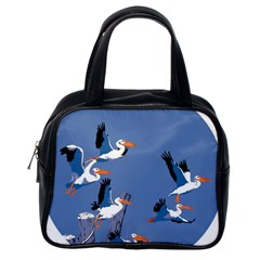 Abstract Pelicans Seascape Tropical Pop Art Classic Handbags (one Side) by WaltCurleeArt