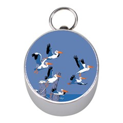 Abstract Pelicans Seascape Tropical Pop Art Mini Silver Compasses by WaltCurleeArt