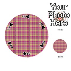Pink Plaid Pattern Playing Cards 54 (round)  by TastefulDesigns