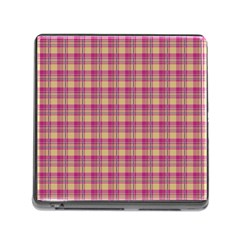 Pink Plaid Pattern Memory Card Reader (square) by TastefulDesigns