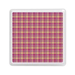 Pink Plaid Pattern Memory Card Reader (square)