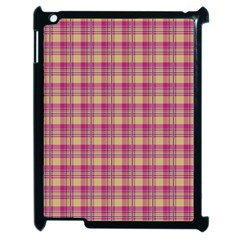 Pink Plaid Pattern Apple Ipad 2 Case (black) by TastefulDesigns