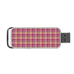 Pink Plaid Pattern Portable Usb Flash (two Sides) by TastefulDesigns