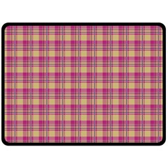 Pink Plaid Pattern Double Sided Fleece Blanket (large)  by TastefulDesigns