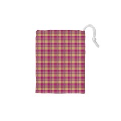 Pink Plaid Pattern Drawstring Pouches (xs)  by TastefulDesigns