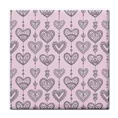 Sketches Ornamental Hearts Pattern Tile Coasters