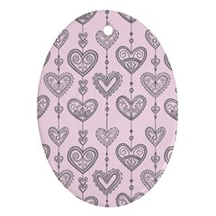 Sketches Ornamental Hearts Pattern Ornament (oval)