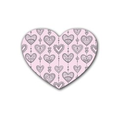 Sketches Ornamental Hearts Pattern Heart Coaster (4 Pack)