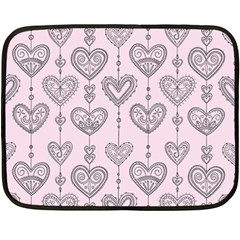 Sketches Ornamental Hearts Pattern Double Sided Fleece Blanket (mini)  by TastefulDesigns