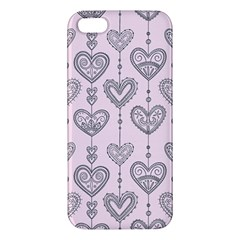 Sketches Ornamental Hearts Pattern Apple Iphone 5 Premium Hardshell Case by TastefulDesigns