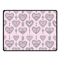 Sketches Ornamental Hearts Pattern Double Sided Fleece Blanket (small)  by TastefulDesigns