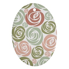 Retro Elegant Floral Pattern Ornament (oval)  by TastefulDesigns