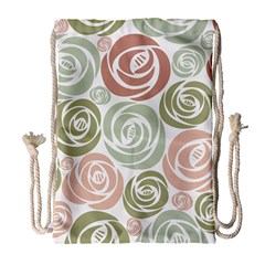 Retro Elegant Floral Pattern Drawstring Bag (large) by TastefulDesigns