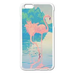 Two Pink Flamingos Pop Art Apple Iphone 6 Plus/6s Plus Enamel White Case by WaltCurleeArt