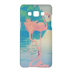 Two Pink Flamingos Pop Art Samsung Galaxy A5 Hardshell Case  by WaltCurleeArt