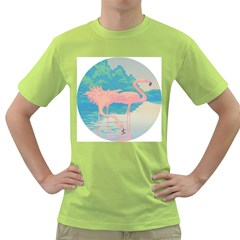 Two Pink Flamingos Pop Art Green T-shirt by WaltCurleeArt