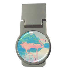 Two Pink Flamingos Pop Art Money Clips (round)  by WaltCurleeArt