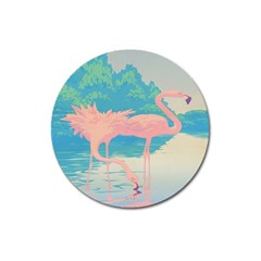 Two Pink Flamingos Pop Art Magnet 3  (round) by WaltCurleeArt