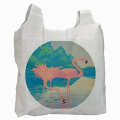 Two Pink Flamingos Pop Art Recycle Bag (two Side)  by WaltCurleeArt