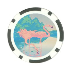 Two Pink Flamingos Pop Art Poker Chip Card Guards (10 Pack)  by WaltCurleeArt