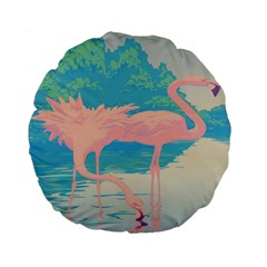 Two Pink Flamingos Pop Art Standard 15  Premium Round Cushions by WaltCurleeArt