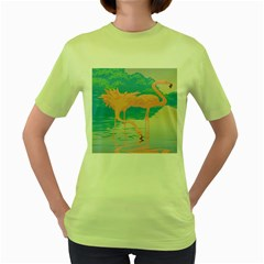 Two Pink Flamingos Pop Art Women s Green T-shirt by WaltCurleeArt