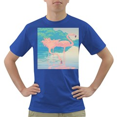 Two Pink Flamingos Pop Art Dark T-shirt by WaltCurleeArt