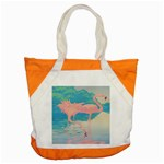 Two Pink Flamingos Pop Art Accent Tote Bag Front