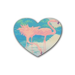 Two Pink Flamingos Pop Art Heart Coaster (4 Pack)  by WaltCurleeArt