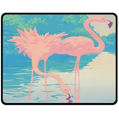 Two Pink Flamingos Pop Art Fleece Blanket (medium)