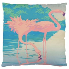 Two Pink Flamingos Pop Art Large Cushion Case (two Sides) by WaltCurleeArt