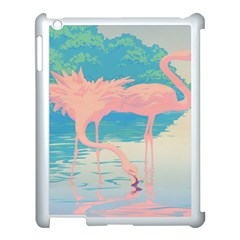 Two Pink Flamingos Pop Art Apple Ipad 3/4 Case (white) by WaltCurleeArt