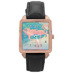 Two Pink Flamingos Pop Art Rose Gold Leather Watch  by WaltCurleeArt
