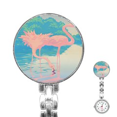 Two Pink Flamingos Pop Art Stainless Steel Nurses Watch by WaltCurleeArt