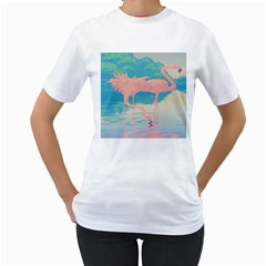 Two Pink Flamingos Pop Art Women s T-shirt (white)  by WaltCurleeArt
