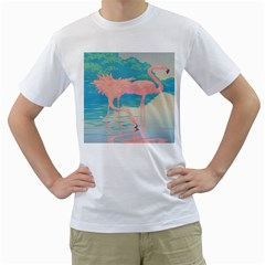 Two Pink Flamingos Pop Art Men s T-shirt (white)  by WaltCurleeArt